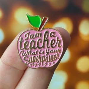 Teacher Pink Apple Enamel Pin/ Brooch